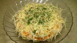 Салат с капустой и шпротами