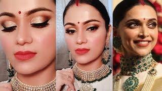DEEPIKA PADUKONE Bangalore Reception Inspired Makeup| Indian Bridal Makeup In Hindi