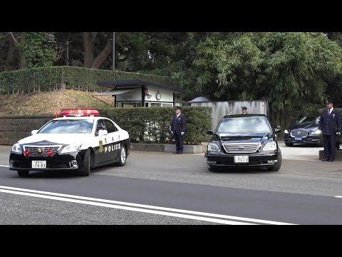 要人車列!!パトカーめっちゃ箱乗りで周辺警戒!!イギリス 英国 ウィリアム王子車列 Japanese Police Car Motorcade 2015.2.27