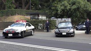 要人車列!!パトカーめっちゃ箱乗りで周辺警戒!!イギリス 英国 ウィリアム王子車列 Japanese Police Car Motorcade 2015.2.27 thumbnail