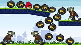 Angry Birds Fry Zombies - USE EXPLOSIVE TNT TO KILL ALL ZOMBIES !