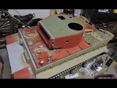 Vintage RC 1/6th scale armortek early production Tiger I Video#12 (top deck details)