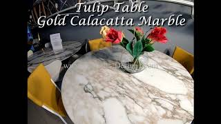 Video: 180 cm round Tulip table - Gold Calacatta marble