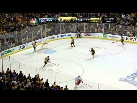 Dan Girardi blocked shot, Boychuk post end 3rd May 16 2013 NY Rangers vs Boston Bruins NHL Hockey