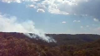 Helitanker Elvis Sky Crane Over Mount Kuring-gai Bushfire 2009