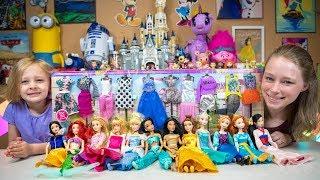 Disney Princess Dolls Dress Up Party Barbie Toys for Girls Surprise Eggs Blind Bags Kinder Playtime