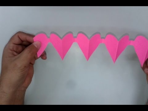 How To Make A Paper Heart Chain Valentines Day Crafts Youtube