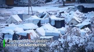 Лагерь беженцев в Греции засыпало снегом