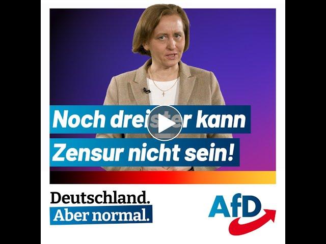 Beatrix von Storch (AfD) - Noch dreister kann Zensur nicht sein!