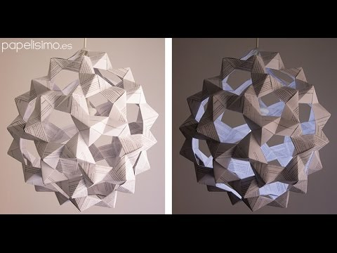 Lámpara de papel origami (icosaedro truncado)