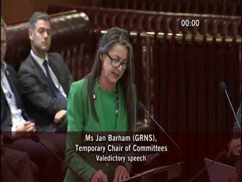 Jan Barham's Valedictory Speech
