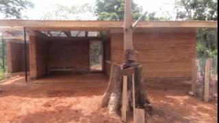 Nkabom House is a prototypical Ghanaian home made from mud and waste plastic