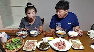 먹방MUKBANG 맛있는오리고기구워먹기,편육,김치국 /…