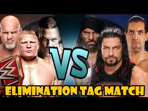 John Cena, Goldberg & Brock Lesnar vs Jinder Mahal, Roman Reigns & The Great Khali (Elimination Tag)