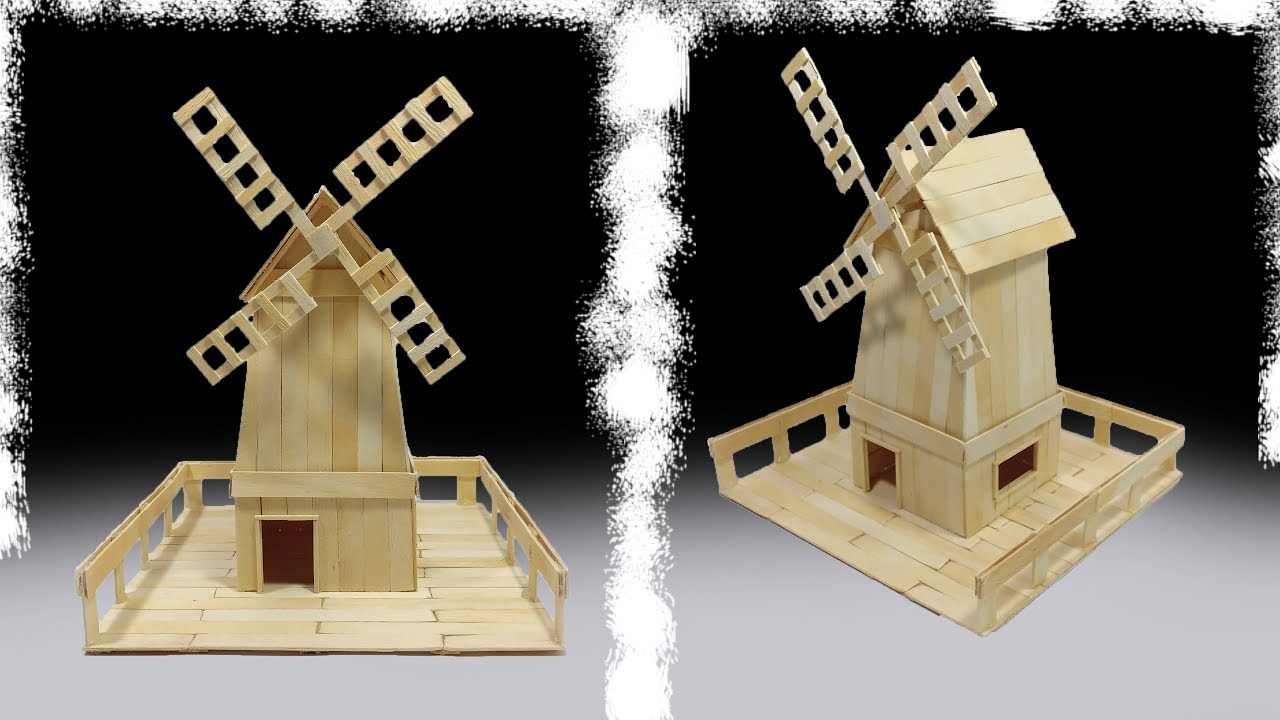 how to make a windmill house from popsicle sticks - youtube