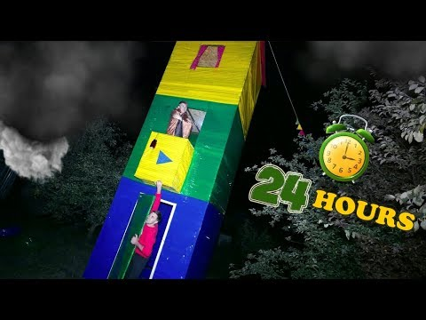 24-HOURS CHALLENGE ● 3-STOREY HOUSE FROM DUCT TAPE - DIY