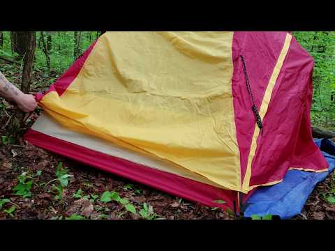 OVERNIGHTER IN THE WOODS TESTING BACKPACKING OZARK TRAIL 2 PERSON TENT & Furvela tent trap 2 - YouTube