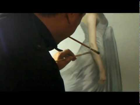 peinture l 39 huile sur toile s bastien vang youtube. Black Bedroom Furniture Sets. Home Design Ideas