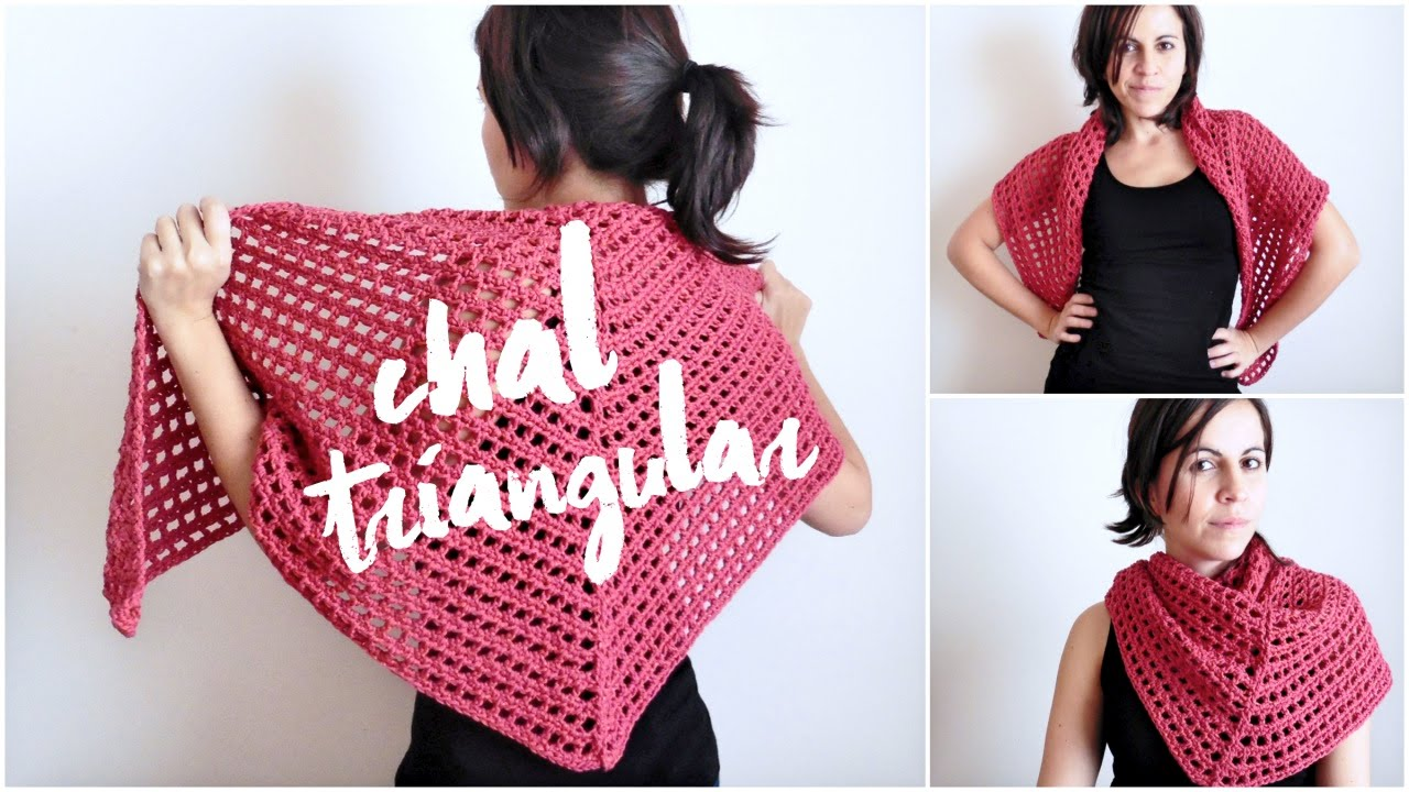 Chal triangular tejido a crochet (ENGLISH SUB) | tutorial paso a ...