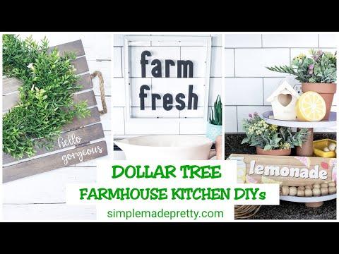 DOLLAR TREE Farmhouse Kitchen DIY's - Tiered Tray, Acrylic Sign, Wooden Farmhouse Tray