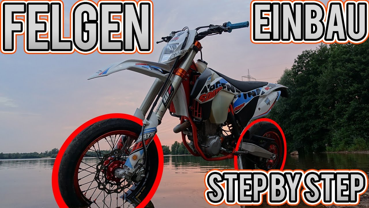 supermoto felgen einbau step by step ktm exc 450 youtube. Black Bedroom Furniture Sets. Home Design Ideas