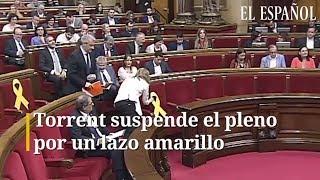 Bronca CIUDADANOS-TORRENT en el Parlement por un lazo amarillo
