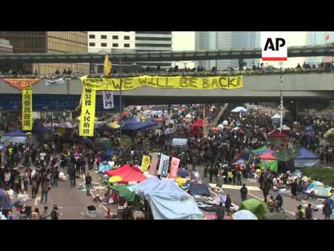 Poilce remove barricades and tents from protest camp