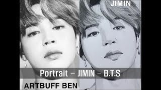 1min - Korean wave BTS Jimin 지민 easy fun drawing - artbuff ben 아트버프