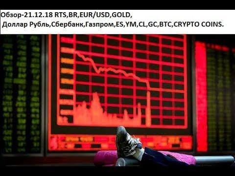 Обзор-21.12.18 RTS,BR,EUR/USD,GOLD, Доллар Рубль,Сбербанк,Газпром,ES,YM,CL,GC,BTC,CRYPTO COINS