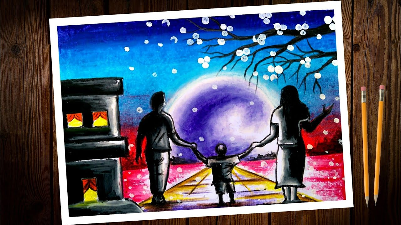 National parents day chart/poster drawing. how to draw National parents day scenery pastel colours.