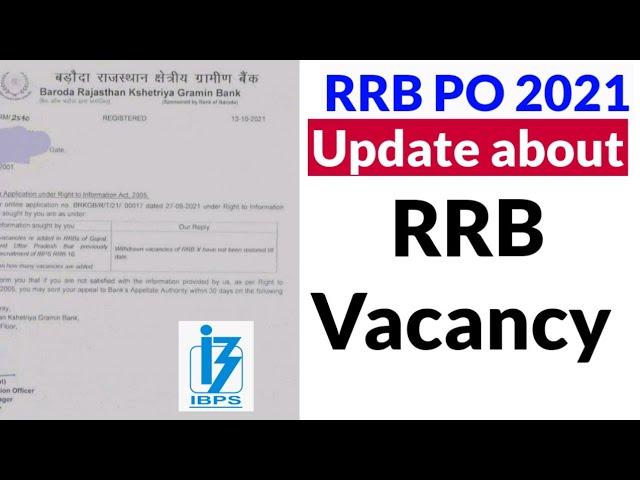 🔥 Vacancy Update regarding RRB PO 2021