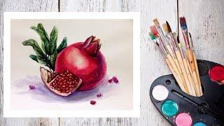 Видео урок Рисуем Гранат Акварелью #Dari Art(В этом видео предлагаю вас создать, красивый, яркий, сочный и конечно же вкусный грант! Для работы нам потре..., 2015-04-14T11:29:12.000Z)