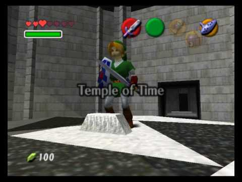 Temple of Time - Link pulling out the sword and putting it back