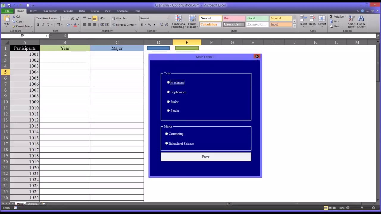 adding data to excel using option buttons on a vba userform youtube. Black Bedroom Furniture Sets. Home Design Ideas