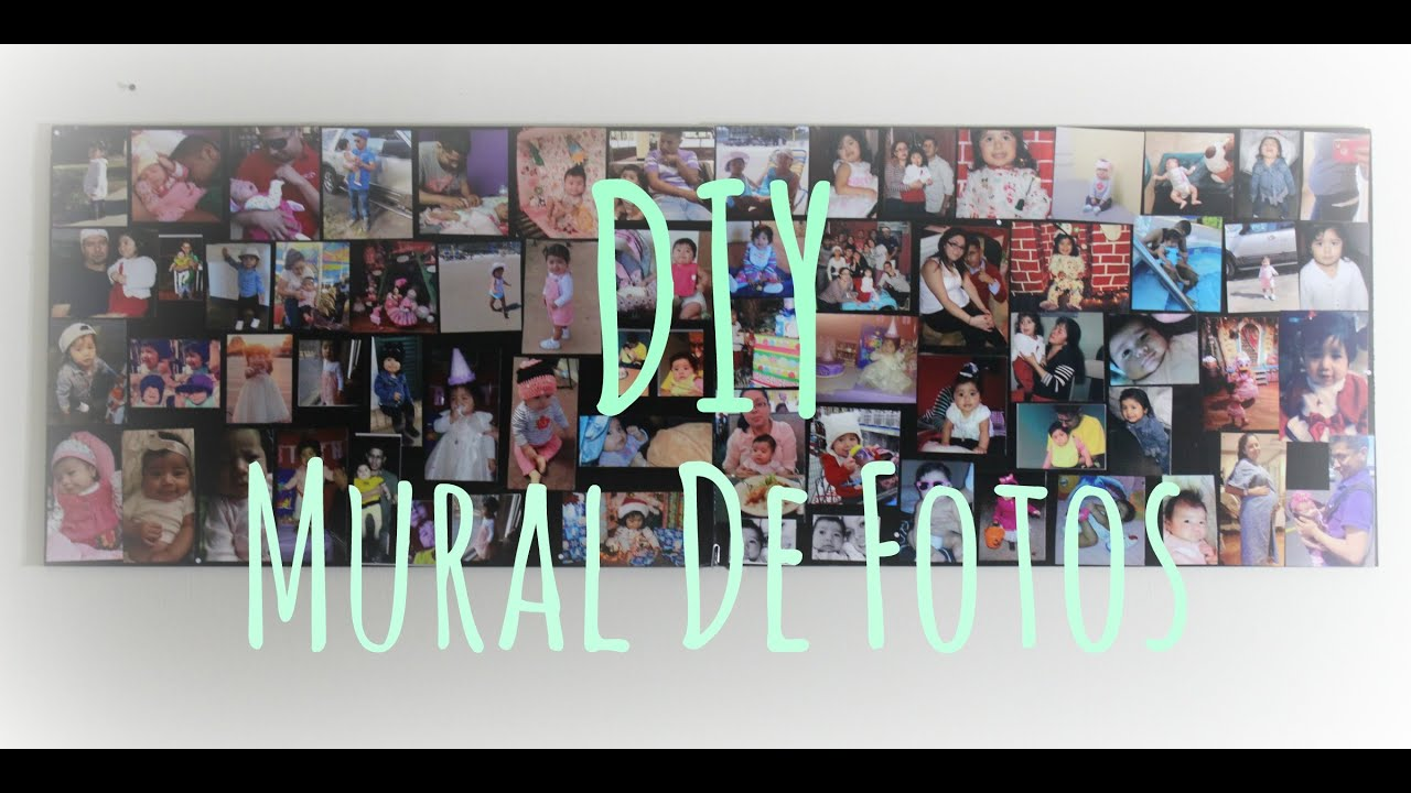 Diy mural de fotos wall paper collage youtube for Mural collage