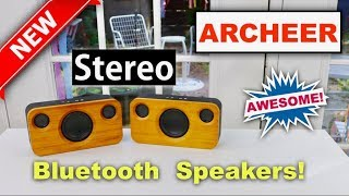 😍  ARCHEER Stereo   Bluetooth  Bamboo Speakers – Review    ✅