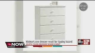 Dresser sold exclusively on Walmart online recalled