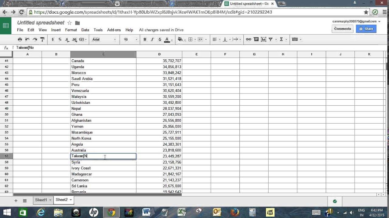 Create World Population Map In Google Docs Spreadsheet