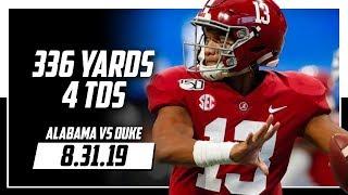 Tua Tagovailoa Full Highlights Alabama vs Duke | 336 Yards, 4 TDs | 8.31.19