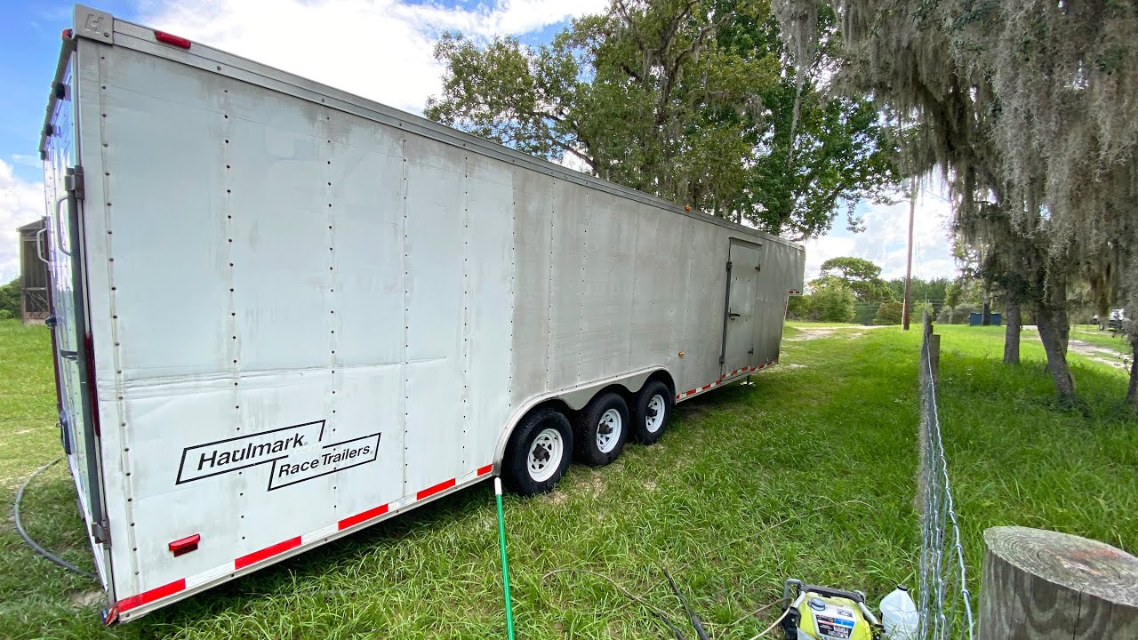Cleaning 10 Years Of Stains Off My Enclosed Car Trailer (Incredibly Satisfying)