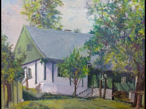 Old Impressionist Oil Painting Signed Landscape House Mid Century Modern Art