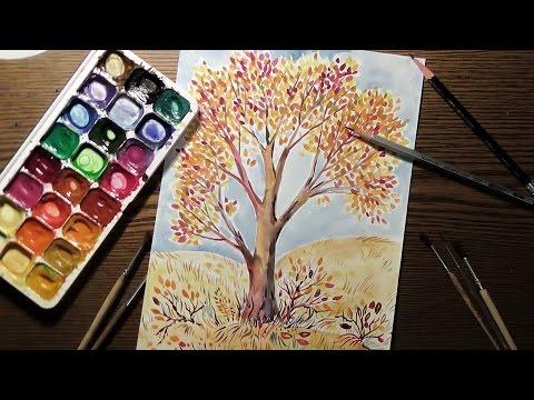 Рисуем дерево акварелью / Draw A Tree In Watercolor