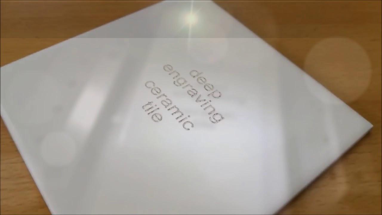 fiber laser deep engraving ceramic tiles using 20 watt alice 1070 nm