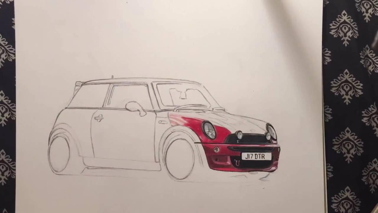 mini cooper drawing [ 1280 x 720 Pixel ]