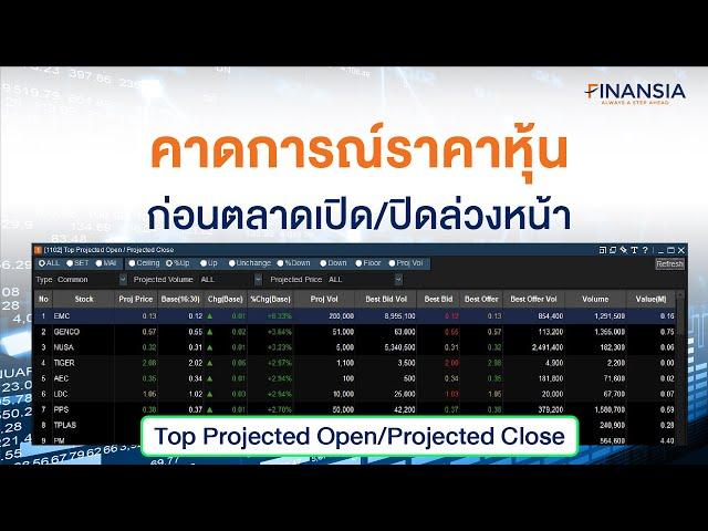 Top Projected Open/Projected Close คาดการณ์ราคาหุ้นเปิด/เปิด ช่วงตลาดกำลังจะเปิด/ปิดล่วงหน้า