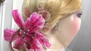 Designer Bridal Hair Dress Accessories Stargazer Lily French Silk Flower Thumbnail