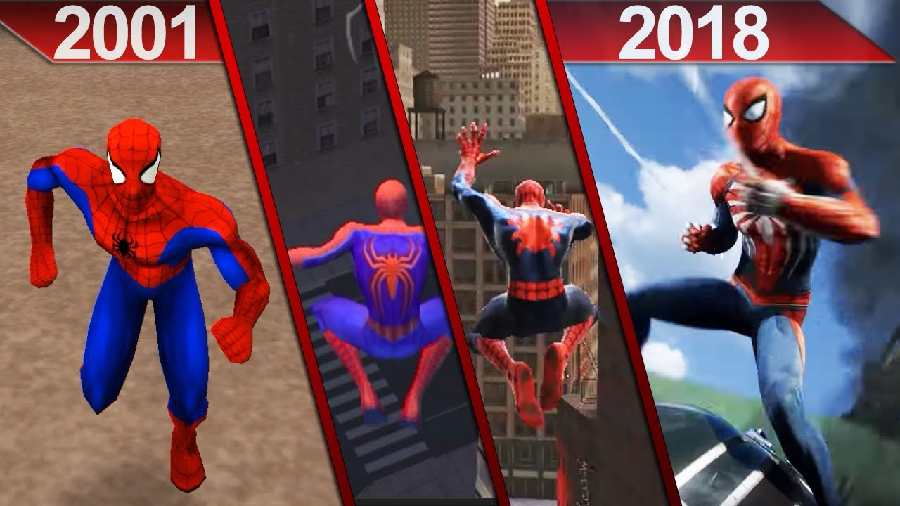 evolution of spider man games graphics 2001 2018 pc. Black Bedroom Furniture Sets. Home Design Ideas