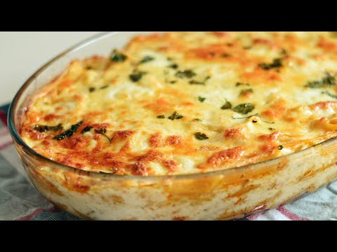 White Sauce Pasta And Chicken Bake | Creamy Bechamel Sauce
