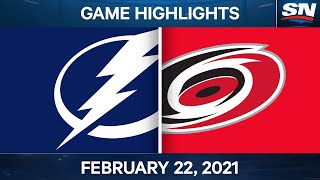 NHL Game Highlights   Lightning vs. Hurricanes – Feb. 22, 2021