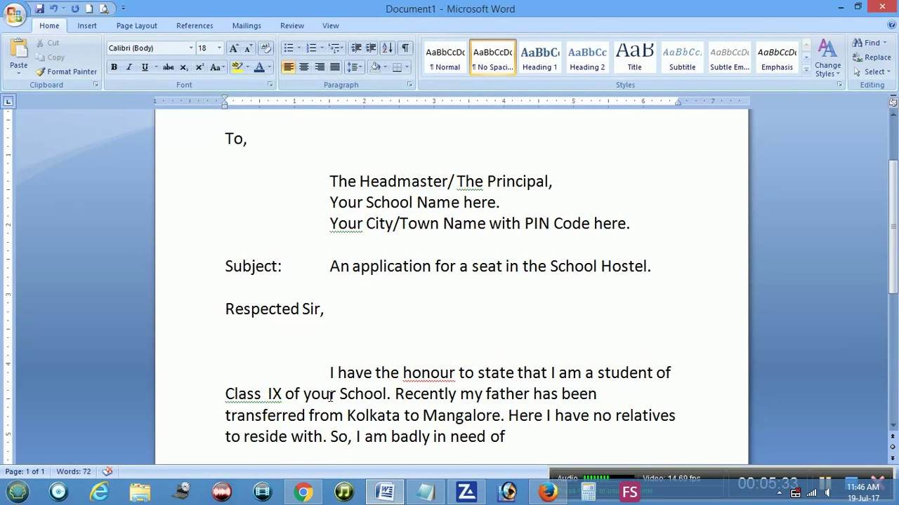 An application for a seat in the School Hostel